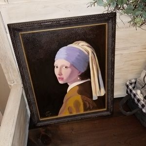 "Vermeer ""Girl with pearl Earring"" Framed Canvas"